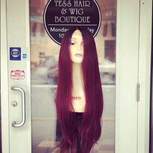 Accessories - Wig Swisslace Long Burgundy Ombré V-Shape back Wig